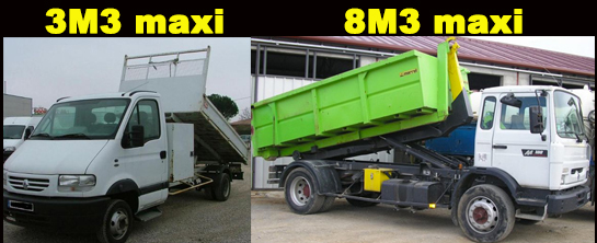 camion 3 m3 minimum et 8 m3 maximum